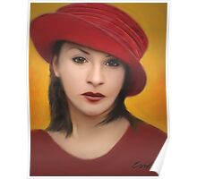 Girl in a Red Hat Poster