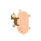 Baby Monkey Riding on a Pig by imaginarystory