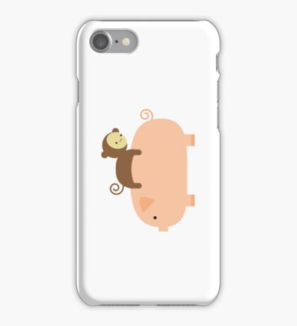 Baby Monkey Riding on a Pig iPhone Case/Skin