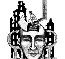 Decision surreal black and white pen ink drawing by Vitaliy Gonikman