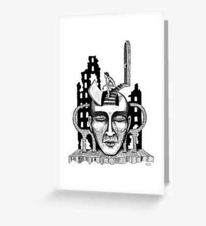 Decision surreal black and white pen ink drawing Greeting Card