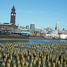 Historic Hoboken Terminal, Empire State Building, View from Hoboken, New Jersey by lenspiro