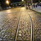 Abandoned TrolleyTracks at Night, Hoboken, New Jersey by lenspiro