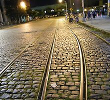 Abandoned TrolleyTracks at Night, Hoboken, New Jersey by lenspiro
