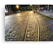 Abandoned TrolleyTracks at Night, Hoboken, New Jersey Canvas Print