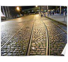 Abandoned TrolleyTracks at Night, Hoboken, New Jersey Poster