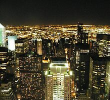 View of Manhattan and Queens at Night, As Seen from Top of the Rock Observation Deck, New York by lenspiro