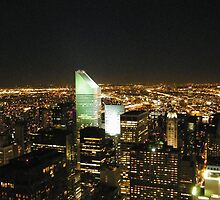 Manhattan, Queens Nighttime View, As Seen from Top of the Rock Obvservation Deck, New York  by lenspiro