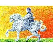 he rides a white horse Photographic Print