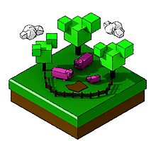 Isometric island frame - Pig Photographic Print