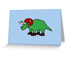 Roller Derby Triceratops Greeting Card