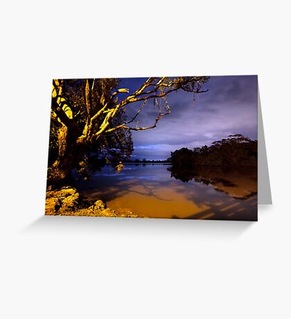 MOONLIGHT BENDS OVER THE BLACK SILENCE Greeting Card