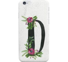 Monogram D with Floral Wreaths iPhone Case/Skin