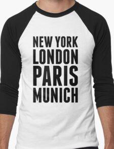 New York, London, Paris, Munich - [Black] Men's Baseball ¾ T-Shirt