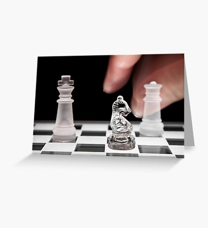Chess 101: The knight moves to put the king in check Greeting Card
