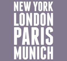 New York, London, Paris, Munich - [White] Kids Tee