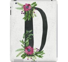 Monogram D with Floral Wreaths iPad Case/Skin