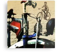 digital RETRO CYCLING print with calligraphy Metal Print