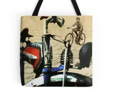 digital RETRO CYCLING print with calligraphy Tote Bag