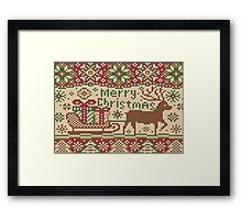 Knitted pattern with reindeer red/green Framed Print