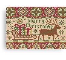 Knitted pattern with reindeer red/green Canvas Print