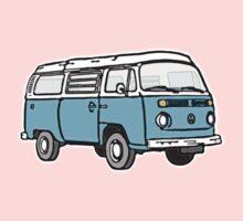 Bay Window Campervan Blue One Piece - Short Sleeve