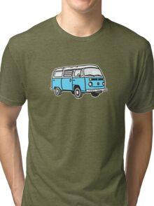 Bay Window Campervan Blue Tri-blend T-Shirt