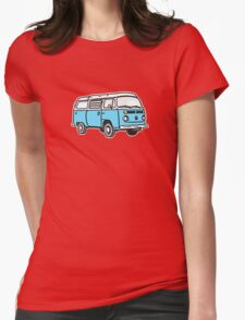 Bay Window Campervan Blue Womens Fitted T-Shirt