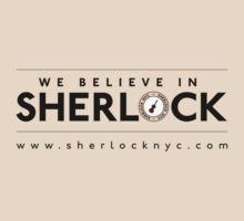 We Believe in Sherlock (Black Font + Colored Logo) by SherlockNYC