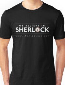 We Believe in Sherlock (White Font + Colored Logo) T-Shirt