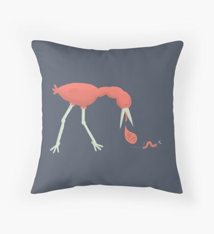 Bird chasing an earthworm Throw Pillow