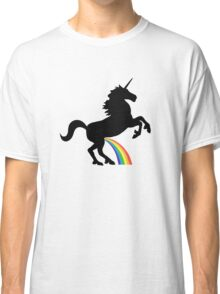 Unicorn Rainbow Pee (black design) Classic T-Shirt
