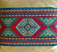 """""""Latvian Pillow - RED""""© by HelgaFCrosby"""