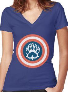 Captain Bear Women's Fitted V-Neck T-Shirt