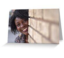 Brenda peaking around corner RO Greeting Card