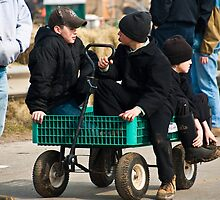 Amish Boys in a Wagon by KellyHeaton