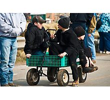 Amish Boys in a Wagon Photographic Print