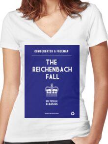BBC Sherlock - The Reichenbach Fall Minimalist Women's Fitted V-Neck T-Shirt