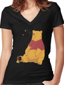 Pooh at the Zoo Women's Fitted V-Neck T-Shirt
