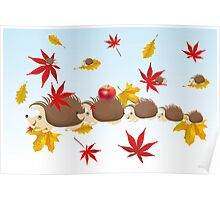 Hedgehog family in autumn Poster