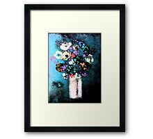 """Glazed Flowers in Column Vase""© Framed Print"