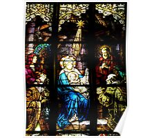 Stain Glass Mary and Baby Jesus Poster