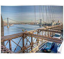 Washington Bridge from Brooklyn Bridge Poster