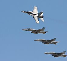 Four F 18  Jets in Formation by Buckwhite