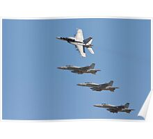Four F 18  Jets in Formation Poster