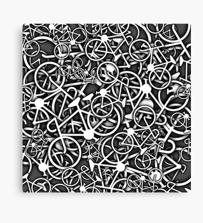 Tangled Up in Bikes 3 - Grey Canvas Print