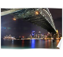 Sydney Harbour Bridge and Opera House at night  Poster