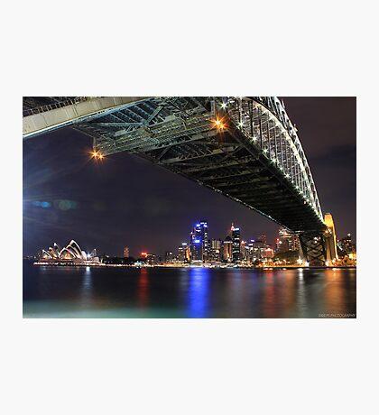 Sydney Harbour Bridge and Opera House at night  Photographic Print