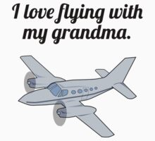 I Love Flying With My Grandma Kids Tee