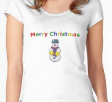 Merry Christmas Snowman Women's Fitted Scoop T-Shirt